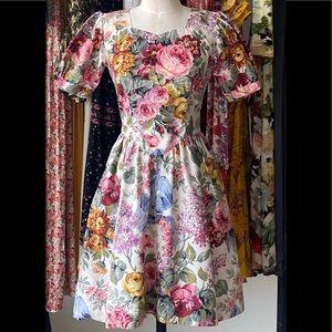 Vintage Floral Puff Sleeve Mini Dress